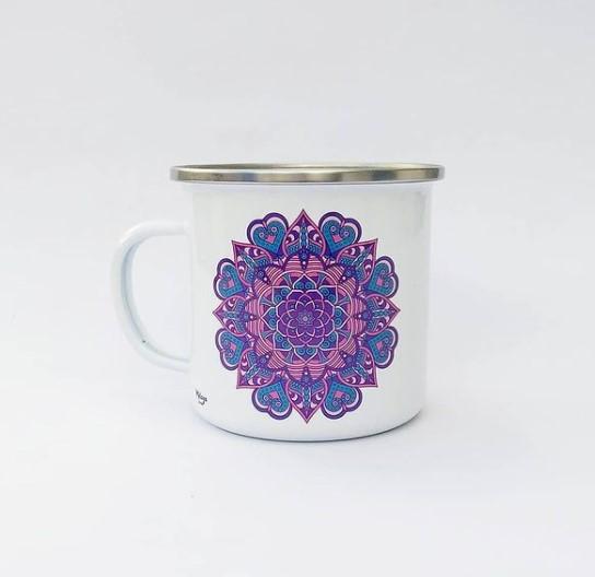 Jarro esmaltado mandala - melaza diseño
